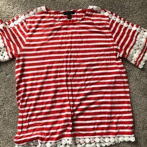 Red Striped J. Crew tee - beautiful detail!